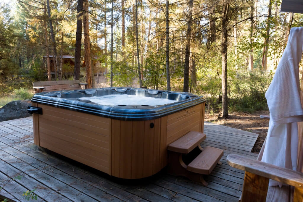 hot tub in forest
