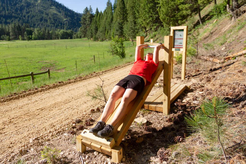 Working out on the fitness trail